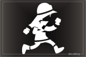 Firefighter Running Car Window Decal