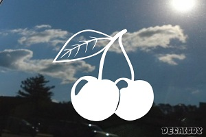 Cherries Black Window Decal