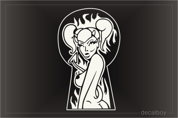 Devil Girl Flames Car Window Decal
