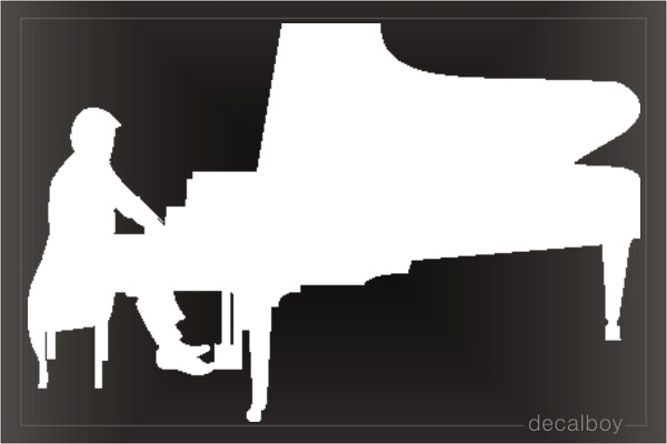 Piano Player Car Window Decal