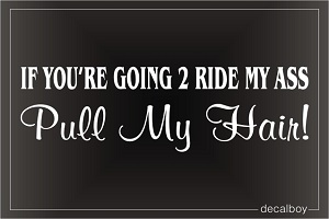 If you are going to ride my ass pull my hair