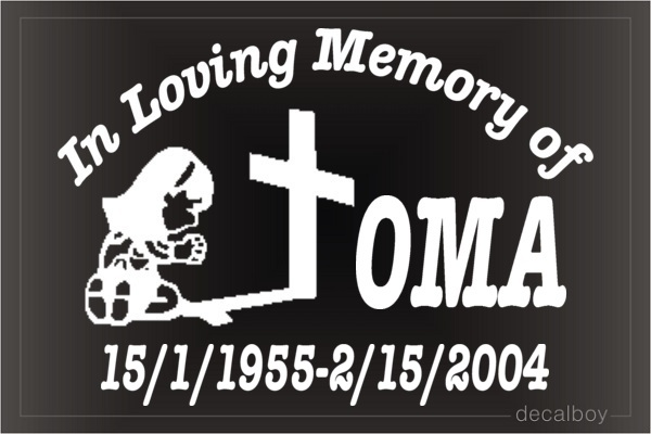In Loving Memory Pray 2 Car Decal