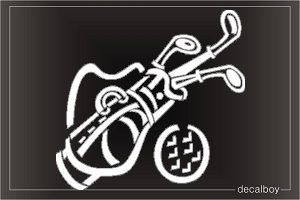 Golf Bag Clubs Window Decal