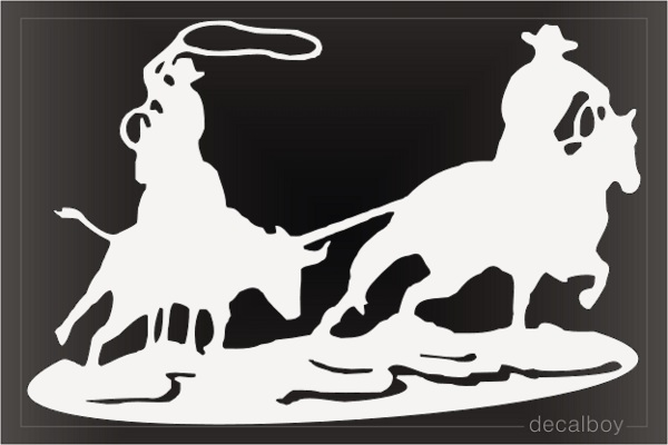 Team Roping Cowboy Car Window Decal