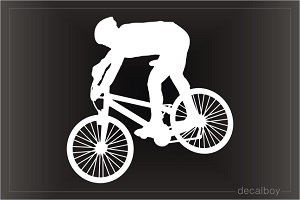 Biking Mountain Biker 2 Window Decal