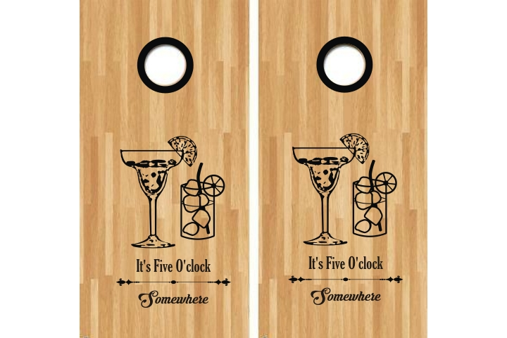 Its Five Oclock Somewhere Cornhole Decal