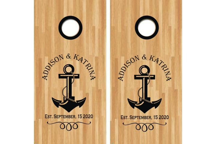 Wedding Anniversary Anchor Cornhole Decal