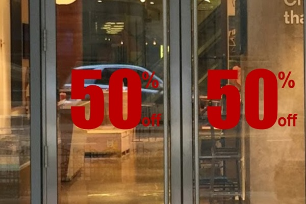 50% Off Storefront Sign Decal
