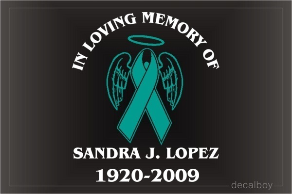 Ovarian Cancer Awareness Ribbon Memorial Car Decal