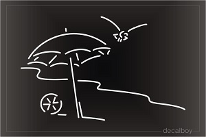 Beach Umbrellas Car Window Decal
