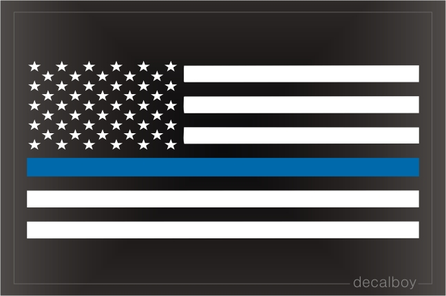 Blue Line Flag USA Decal