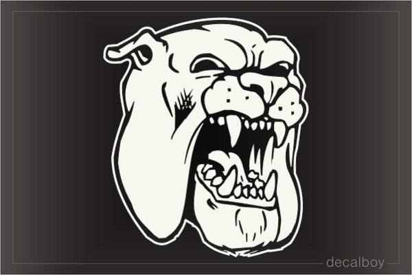 Bulldog Face Mad 102 Car Window Decal