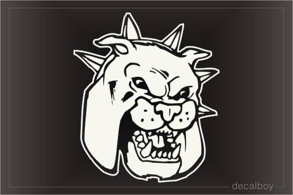 Bulldog Face Mad 124 Car Window Decal