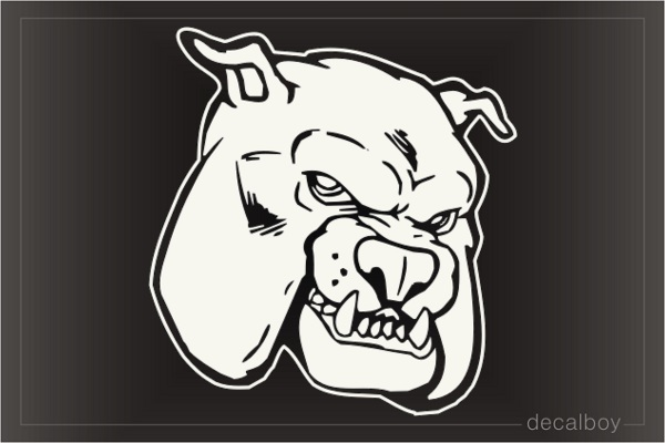 Bulldog Face Mad 465 Car Window Decal
