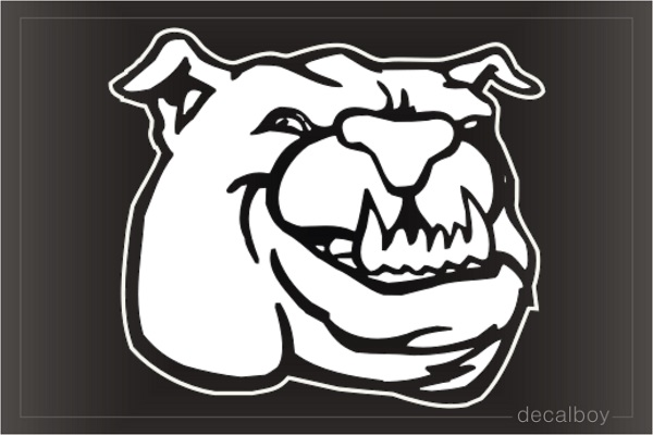 Bulldog Face Mad 478 Car Window Decal