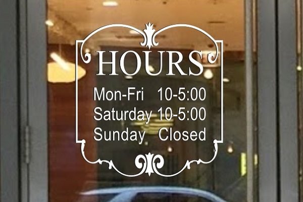 Sign decal templates decalboy business hours sign vinyl die cut decal accmission Images