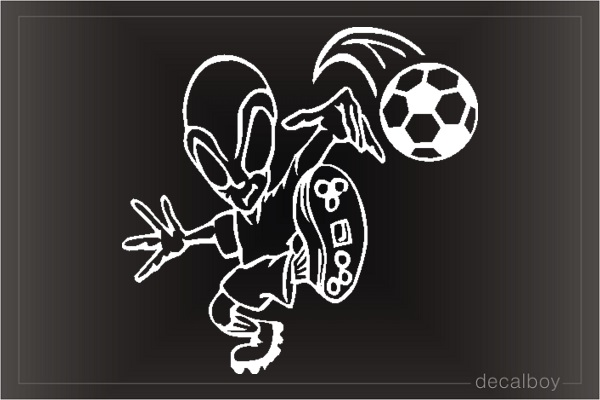 Alien Playing Soccer Car Window Decal