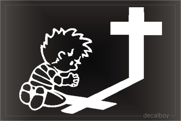 Pray Cross Boy Car Window Decal