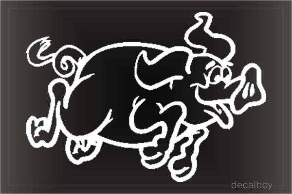Pig Running Car Window Decal