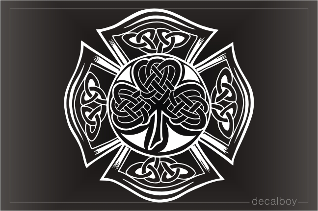 Celtic Knot Maltese Cross Clover Decal