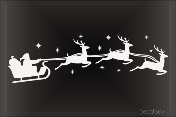 Christmas Santa Claus Sleigh Decal