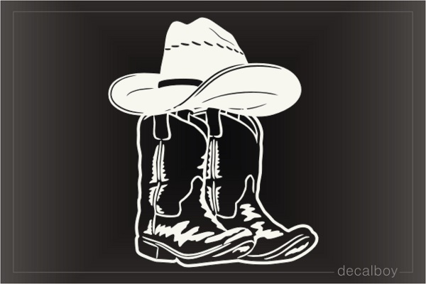 Cowboy Memorial Hat Boots Car Decal
