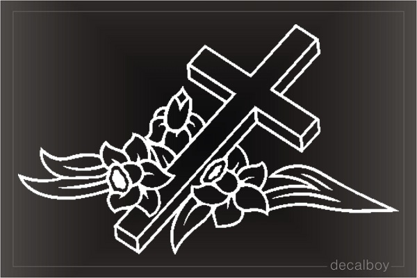 Cross Flowers Clipart Window Decal