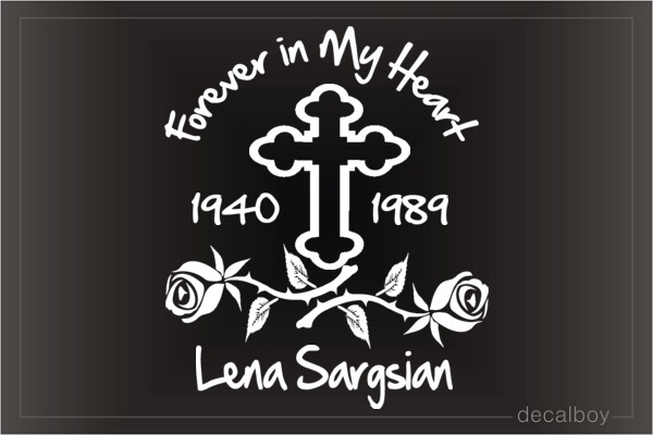 Cross And Roses Memory Car Decal