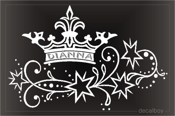 Crown Stars Custom Name Decal