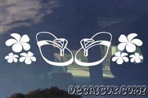 Flip Flop With Flowers Decal