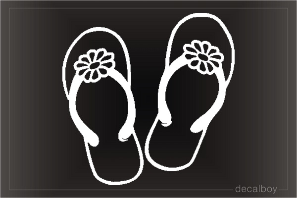 Flip Flop Flower Window Decal