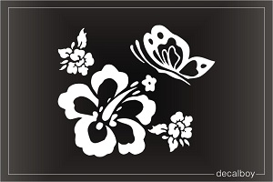 Hawaiian Flower Butterfly Car Window Decal