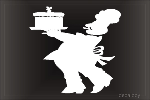 Chef With Cake Car Window Decal