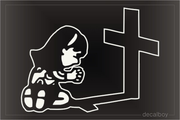 Girl Pray At Cross Car Window Decal
