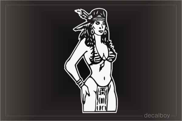 Indian Girl Car Window Decal
