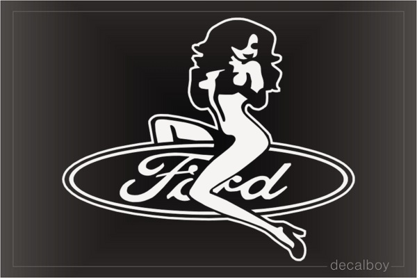 Sexy Girl Sitting On Ford Car Window Decal
