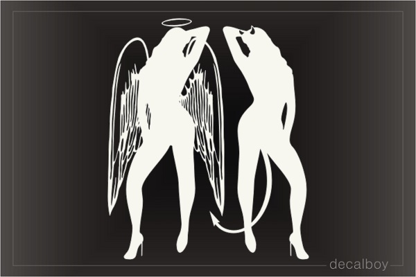 Girls Angel Versus Devil Car Window Decal