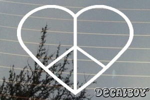 Peace Heart Car Decal