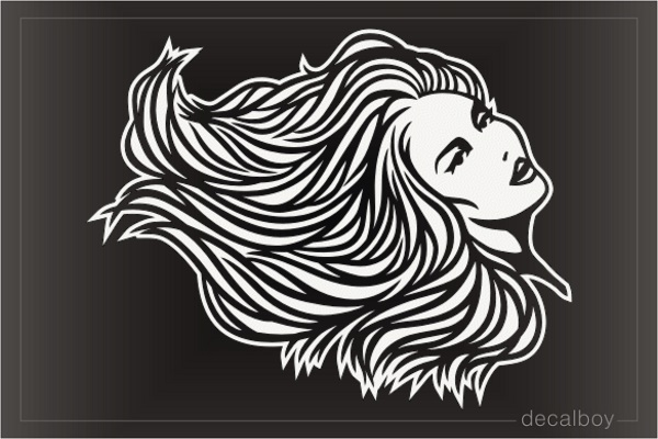 Hair Blowing Wind Decal