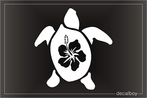 Hawaiian Turtle Flower Car Window Decal