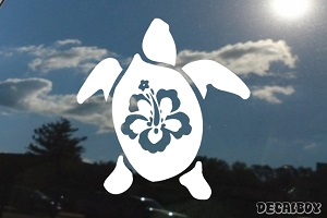 Hawaiian Turtle Flower Back Car Window Decal