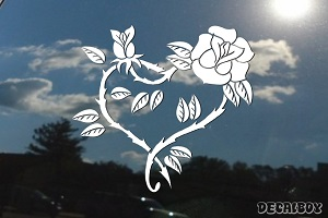 Heart Rose Decal