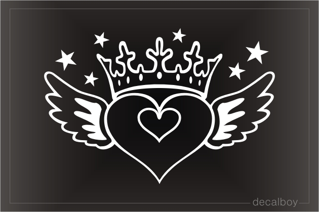 Heart Wings Stars Car Window Decal