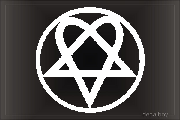 Heartagram Circle Car Decal
