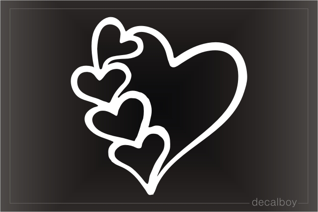 Hearts Romantic Car Window Decal