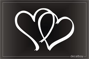 Hearts Pair Car Window Decal