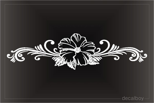 Hibiscus Hawaiian Flower Stripe Window Decal