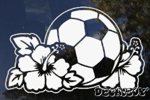 Hibiscus Flowers Surrounding Soccer Ball Window Decal