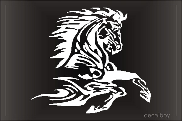 Horse Tribal Flames Window Decal