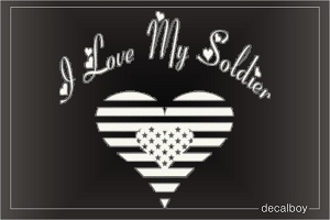 I Love My Soldier Heart Car Decal